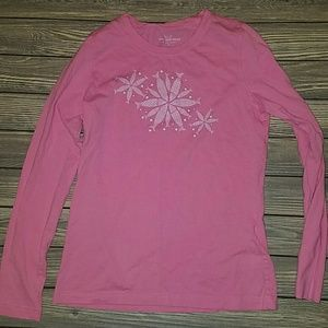 Vineyard Vines pink long sleeve snowflake tee